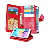 Galaxy S6 Edge Case, NOKEA [Wallet] [Kickstand] [Anti-Scratches] [Shock Resistant] and [Drop Protection] Premium PU Leather Flip Wallet Case Cover for Samsung Galaxy S6 Edge (Red)