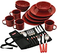 Coleman 24-Piece Enamelware Dish Set and Flatware