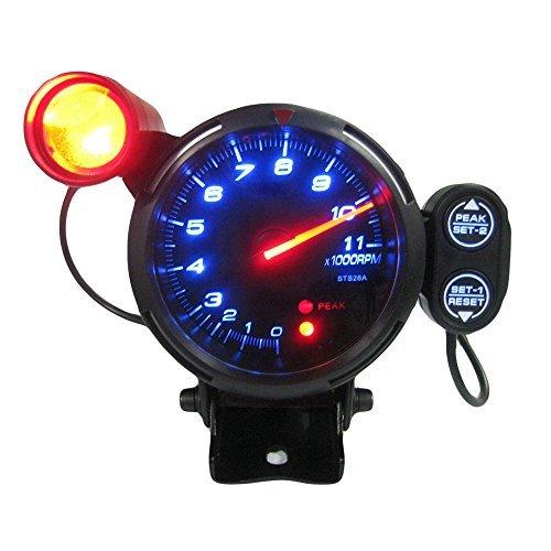 KKmoon 3.5'' Tachometer Gauge Kit Blue LED 11000 RPM Meter with Adjustable Shift Light+Stepping Motor Black by KKmoon