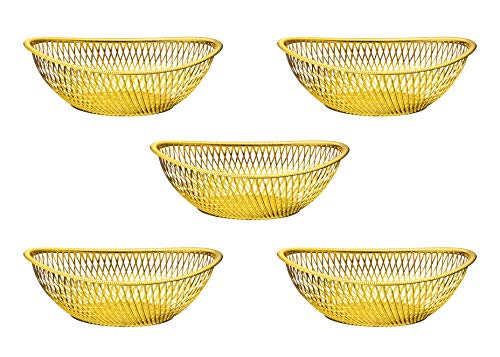 (Impressive Creations Reusable Decorative Serving Basket - Plastic Fruit Basket - Bread Basket with Elegant Gold Finish - Functional and Modern Weaved Design - 5pk)