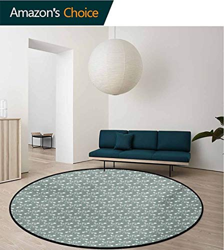 RUGSMAT Vintage Floral Modern Washable Round Bath Mat,Spring Meadow Themed Swirled Twigs with Tulips Buds Nature Art Non-Slip Bathroom Soft Floor Mat Home Decor,Diameter-59 Inch Pale Sage Green White ()