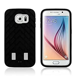 PIZU 3in1 Robots Tire Grain Pattern Silicone Cover Durable Tough High Impact Rugged Case Heavy Duty Hybrid Armor Case Soft Black Silicone Cover Case for Samsung Galaxy S6 White