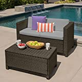 Cony Outdoor Wicker Loveseat and Coffee Table Set, Brown with Ceramic Grey Cushions