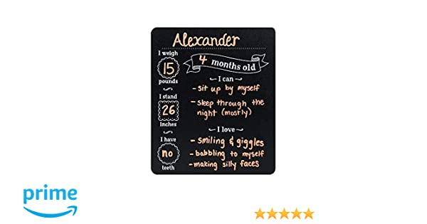 Custom Product Solutions Monthly Baby Stats and Milestones Months Old Reusable Plastic Chalkboard Gender Neutral Photo Prop Board for Use with Chalk ...