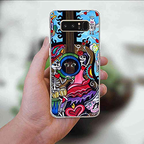 for Samsung Galaxy Note 8 (2017) 6.3 Inch Death Day Guitar Mexican Day of The Dead Ghost Easter Day Halloween Sugar Skull-2 -