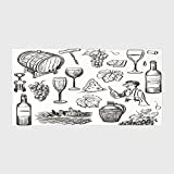 Cotton Microfiber Hotel SPA Beach Pool Bath Hand Towel,Wine,Hand Drawn Wine Set in Sketch Style Vintage Gourmet Country Themed Artwork Decorative,Charcoal Grey White,for Kids, Teens, and Adults
