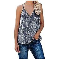 Dainzusyful Women Summer Sleeveless V Neck Boho Floral Printed Tank Tops Loose Casual Tunic Shirts Blouses S-XXL