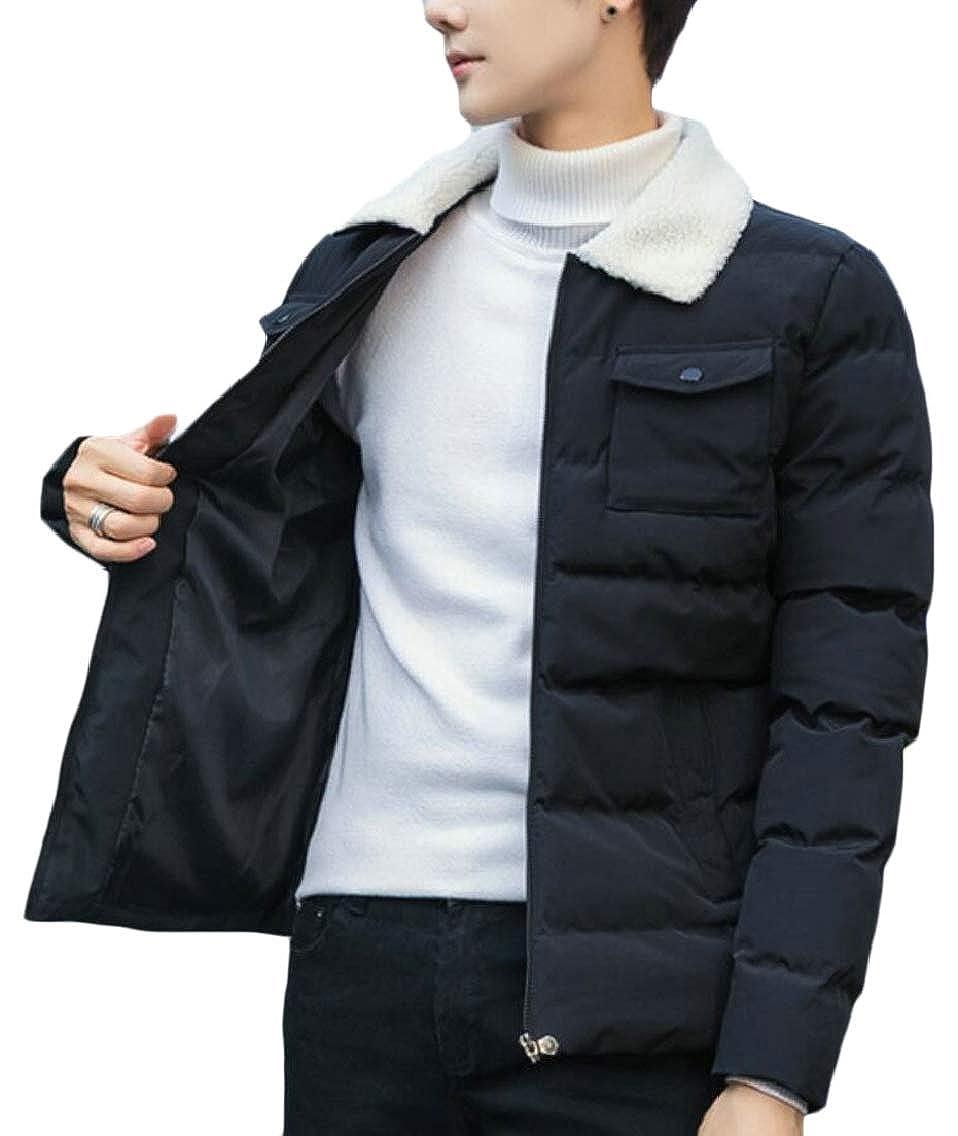 Keaac Men Cotton Pocket Lapel Collar Zip Front Warm Winter Down Coat