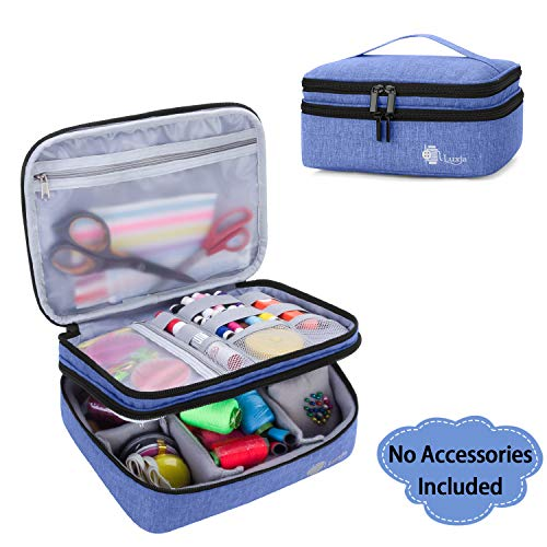 Review Of Luxja Double-Layer Sewing Supplies Organizer, Sewing Accessories Organizer for Needles, Thread, Scissors, Measuring Tape and Other Sewing Tools (Bag Only), Dark Blue