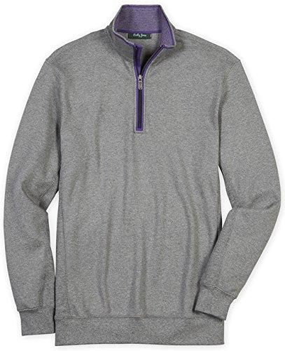 Bobby Jones Men's Leaderboard Pima 1/4 Zip Pullover Golf Jacket, Charcoal, Large (Pima Golf)