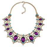 KAYMEN FASHION JEWELLERY Gold-Plated Crown Shape Inlaid Purple Water Drop Stone Statement Necklace for Women Girls Wedding Party Gift