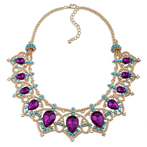 KAYMEN FASHION JEWELLERY Gold-Plated Crown Shape Inlaid Purple Water Drop Stone Statement Necklace for Women Girls Wedding Party Gift by KAYMEN FASHION JEWELLERY