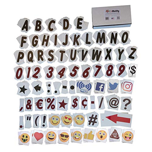 KitAbility Premium Social 4 Inch Set for White Message Board Sidewalk Signs Includes 376 Letters, Numbers, Emoji, Social Media Symbols, and More