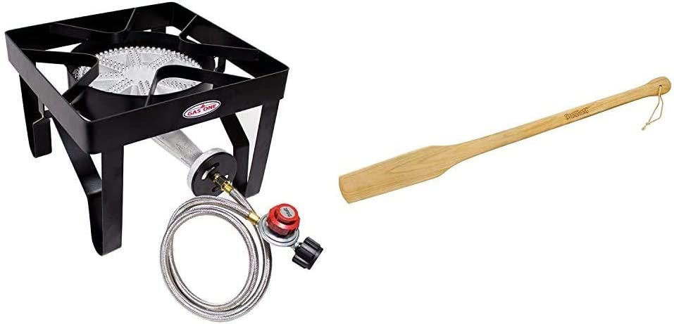 GasOne 200, 000 BTU Square Heavy- Duty Single Burner Outdoor Stove Propane Gas Cooker & Steel Braided Hose Perfect for Home Brewing & Bayou Classic 1001, 35-in Wooden Cajun Stir Paddle