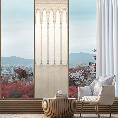 (YOLIYANA Privacy Frosted Decorative Vinyl Decal Window Film,Pillar Decor,for Bathroom, Kitchen, Home, Easy to Install,Architecture Theme Wall with Graceful Columns and Arches,24''x78'')