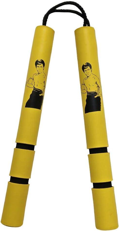 Amarillo Bruce Lee con Cable Playwell Ni/ños Espuma Goma Seguridad Entrenamiento Nunchakus