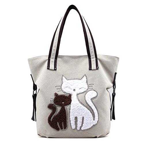 - Womens Cat Canvas Shoulder Bag - Canvas Purse Tote Shoulder Bag - Travel Beach Handbag - Lady Retro Handbags Casual Tote Bag for Girls White