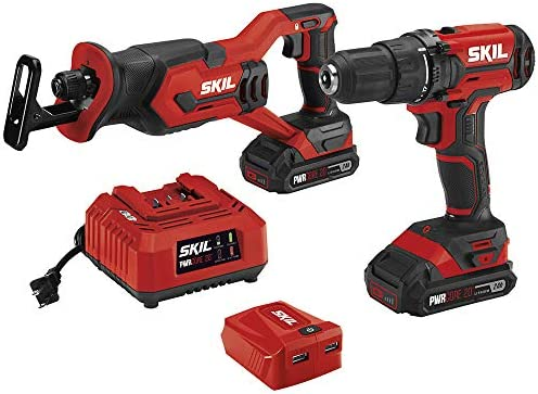 SKIL 2-Tool Combo Kit 20V Drill Driver and Reciprocating Saw, Includes Two 2.0Ah Lithium Batteries, PWRAssist USB Charging Adapter and One Charger – CB739401