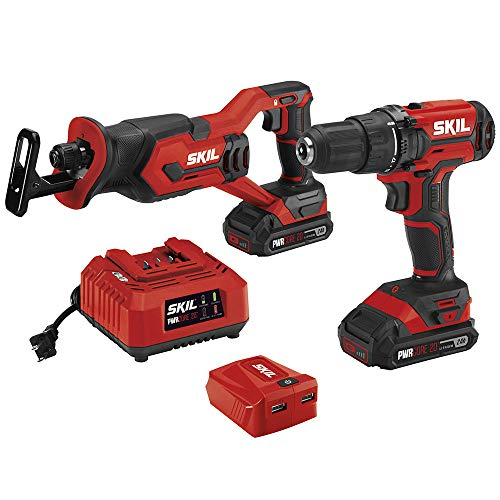 SKIL 3-Tool Kit: 20V Drill Driver, Reciprocating Saw and PWRAssist USB Charging Adaptor, Includes Two 2.0Ah Lithium Batteries and One Charger - CB739401
