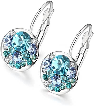 Fashion Bling Colorful Blue Czech Drill Platinum Plated Hoop Earrings Women-Guillermo B.Randle