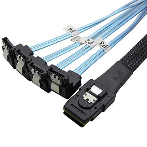 CableDeconn 18' Mini SAS 36P SFF-8087 To 4 SATA 7Pin 90 Degrees Target Hard Disk Data Cable 0.5M (90 Degree Disc)