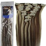 20''7pcs Fashional Clips in Remy Human Hair Extensions 24 Colors for Women Beauty Hot Sale (#4/613-medium brown mixed with light blonde)