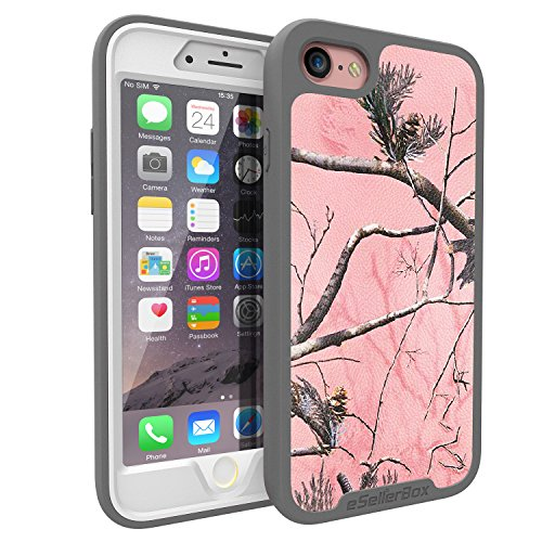 iPhone 8 Case/7 Case, eSellerBox Full-body Rugged Hybrid Dual Layer Slim Protective with screen protector Case Cover for Apple iPhone 8/7 (Camo-AP Pink)