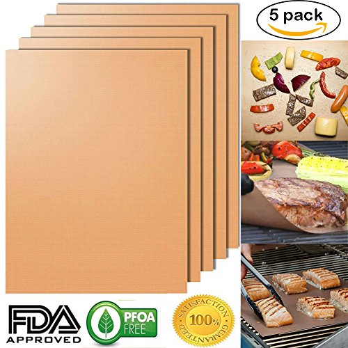 Mat Set of 5, 100% Non- stick BBQ Grill & Baking Mats, PFOA Free, Reusable and Easy to Clean (Tec Electric Rotisserie)