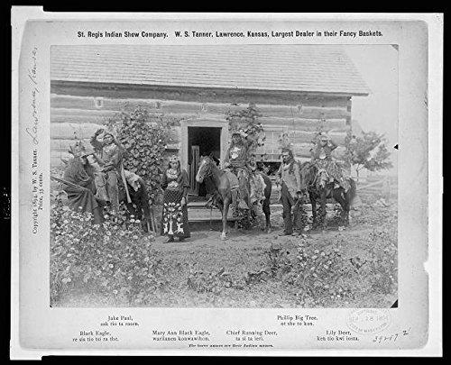 [Photo: St Regis Mohawk men/women, costume, log building, Indians, September 18, c1894 . Size: 8x10] (Log Costume)