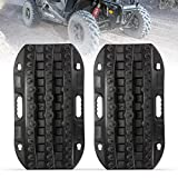 LITEWAY Recovery Traction Tracks - 2 Pcs Black Traction Mat for Sand Mud Snow Track Tire Ladder 4X4 - Traction Boards.
