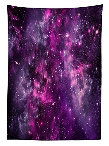 Purple Decor Tablecloth Nebula Gas Cloud Deep Dark in Outer Space with Star Clusters Galaxy Infinity Solar Sky Print Rectangular Table Cover for Dining Room Kitchenes (30h Gray Nebula Tables)
