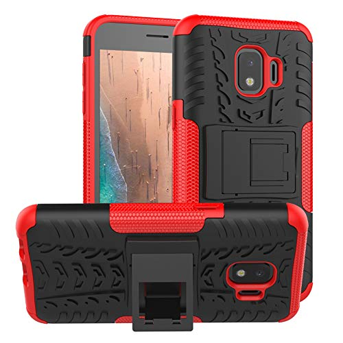 PUSHIMEI Galaxy J2 Case,Galaxy J2 Core/J2 Dash/J2 Pure/J260/J2 Shine case, with Kickstand Hard PC Back Cover Soft TPU Protection Phone Case Cover for Samsung Bench/Galaxy J2 2019(Red Kickstand case) (Tactile Telephone Samsung)