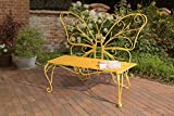 Sunjoy Butterfly Bench Made of Iron, Yellow For Sale