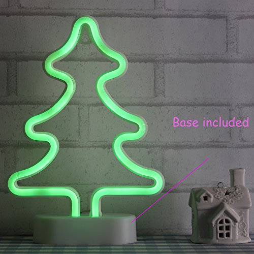 LED Neon Light Christmas Tree Home Decoration for Xmas USB and Battery Powered Green Neon Signs Girls Room Wedding Birthday Party with Table Stand(NECMT)