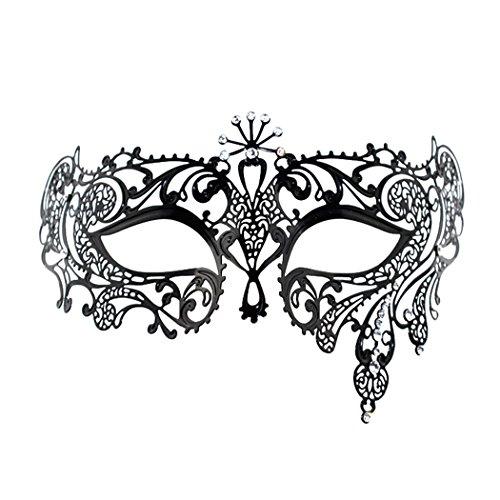 Mask & Crystal Gold White Venetian (Opera Laser Cut Masquerade Mask Half Face Mask White Crystal Decor Venetian)