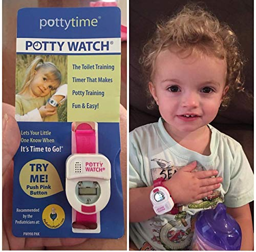 Potty Time: The Original Potty Watch | Newly Improved 2020 ~ Water Resistant | Toddler Toilet Training Aid, Warranty Included (Automatic Timers with Music for Gentle Reminders), Pink + Battery Kit