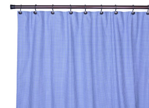 Logan Cotton Curtain (Logan Gingham Check Print Bathroom Shower Curtain, Blue)