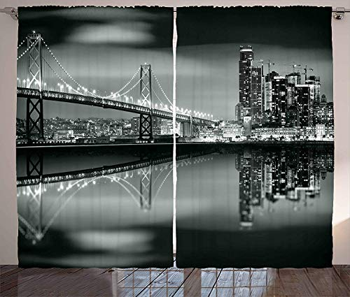 - Black and White Decorations Polyester Curtains with Holes, San Francisco Bay Bridge Metropolis Panorama Skyscrapers,2 Panel Drapes/Window Treatment for Living Room/Bedroom,104 W x 72 L inches