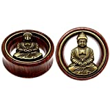Flesh Tunnel Buddha Double Flared Ear Stretcher Saddle Plugs Gauge 8mm - 20mm (Brown, 12mm)
