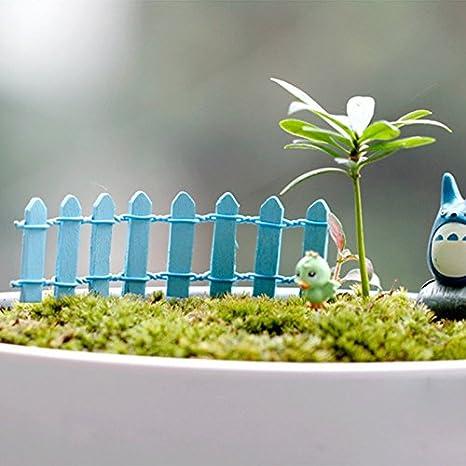 UltraZhyyne 20 Piezas DIY Madera Pequeño Valla Musgo terrario Maceta Manualidades Mini Juguetes Hadas Jardín miniaturas, Azul: Amazon.es: Deportes y aire libre