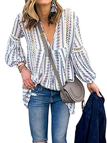 Sophieer Women Puff Sleeve V Neck Hollow Out Floral Print Shirt Tops Long Blouse Tee Light Blue S
