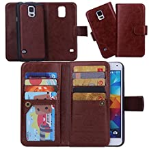 Juzi Samsung Galaxy S5 Case, Wallet Purse Samsung Galaxy S5 Case Leather Flip Cellphone Holder Case - Detachable Magnetic Cover with Lanyard Wrist Strap for Samsung Galaxy S5 (Brown)