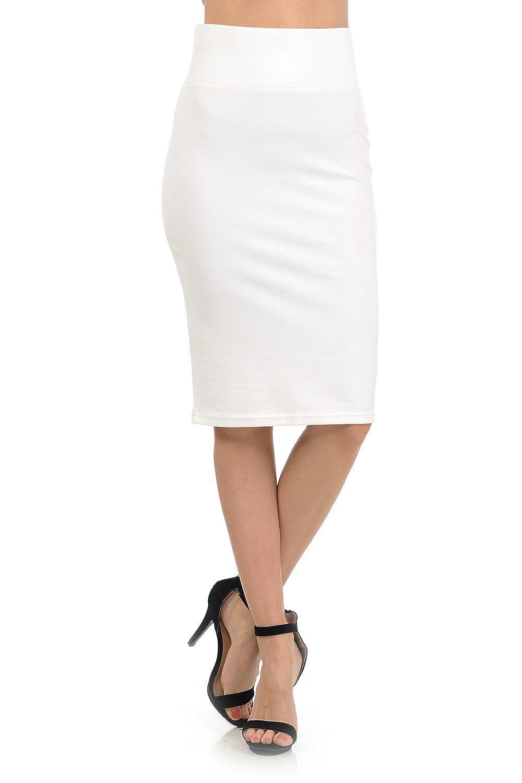 2180off White YourStyle Stretch Bodycon Mini Pencil Ponte Skirt
