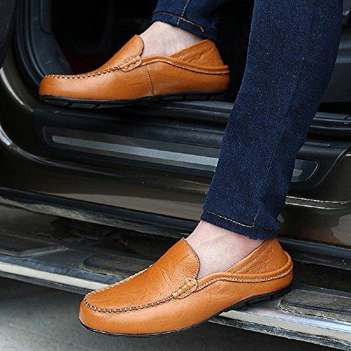 Negro Marrón Azul Casual Mocasines 38 Hombre Para 46 Elegante De Cómodo Oficina Zapatos Piel Trabajo ffHv7q