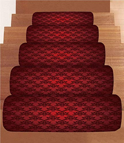 - SoSung Maroon Coral Fleece Stair Treads,Stair Tread Mats,Classical Antique Pattern Baroque Damask Motifs Curves Renaissance Revival Fashion Decorative,(Set of 5) 8.6