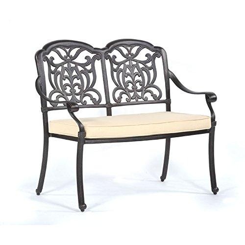 2 Seater Bench - Dark Bronze Effect Cast Aluminium Garden Bench For 2 BrackenStyle