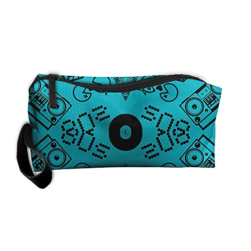 Fashion Icons On Turquoise Lunch Bag Picnic Box Cosmetic Bag for Women Girls Tote Handbag