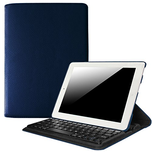 (Fintie iPad 2/3/4 Keyboard Case - 360 Degree Rotating Stand Cover with Built-in Wireless Bluetooth Keyboard for Apple iPad 2, iPad 3 & iPad with Retina Display (Navy))