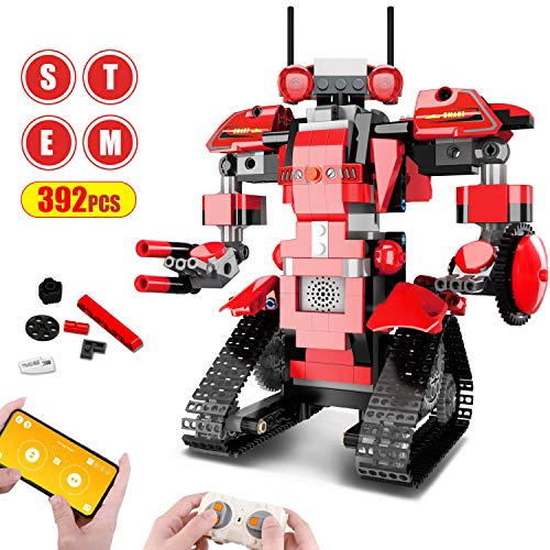 Aukfa Building Blocks RC Robot App Controlled Toy, Remote Control STEM Robot Toy, DIY Robotics Rechargeable RC Electronic Robots Funny Gift for 8+ Year Old Boys Girls ( 392 Pcs )