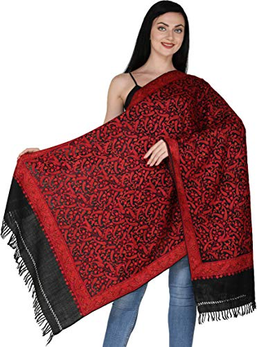 - Exotic India Kashmiri Stole with Ari Hand-Embroidered Paisleys All-Over - Color Caviar Black